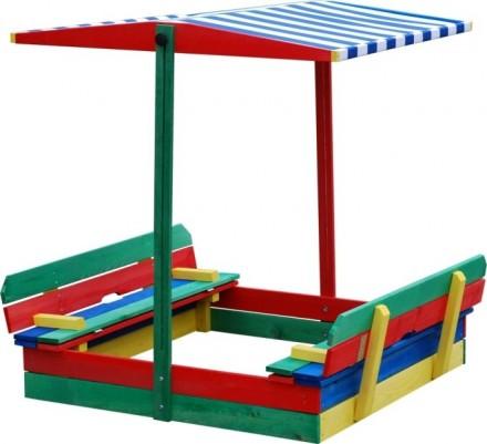 Sandkasten ueberdacht 4-Eck mit 2 Bänken Sandkiste Sandbox