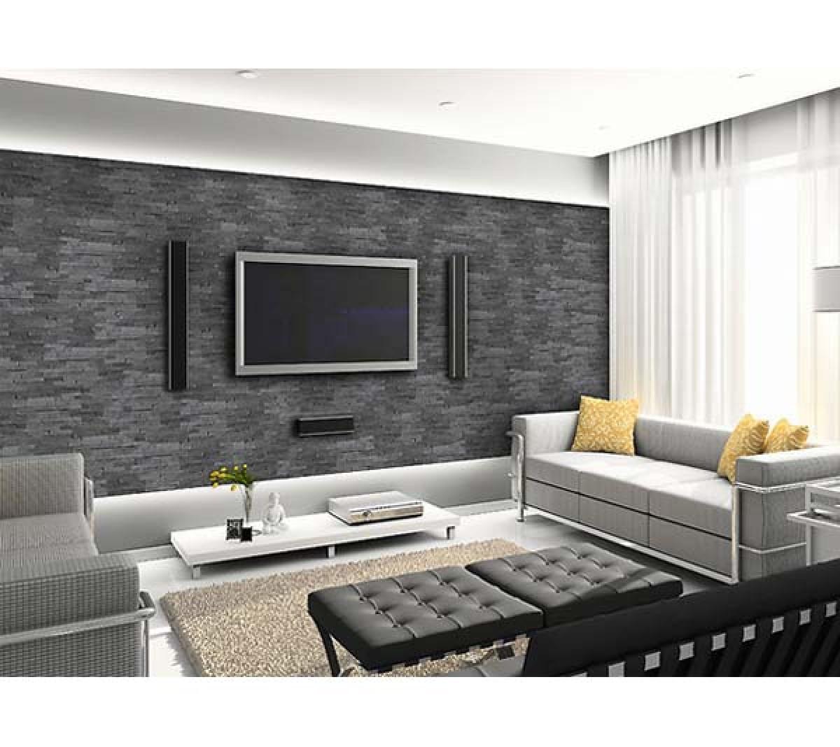 naturstein wohnzimmer amazing in einem grossen wohnzimmer mit und naturstein und ziegelwand. Black Bedroom Furniture Sets. Home Design Ideas