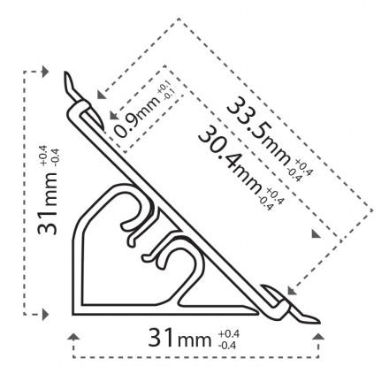 2m Arbeitsplatte Abschlussleiste Küche Winkelleiste