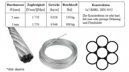 3mm Stahlseil verzinkt Drahtseil DIN3052 Stahlseile