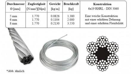 6mm Drahtseil verzinkt Stahlseil Drahtseile DIN3060 Stahlseile