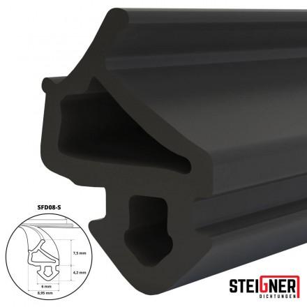 1m Fensterdichtung schwarz SFD08-S Gummidichtung TPE Dichtung Fenster Tür