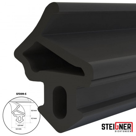 1m Fensterdichtung schwarz SFD09-S Gummidichtung Hohlkammerprofil Fenster Tür Dichtung Moosgummi