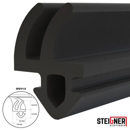 1m Fensterdichtung schwarz SFD11-S Gummidichtung TPE Dichtung Fenster Tür