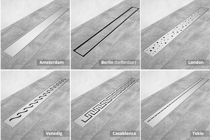 Edelstahl Duschrinne, flach und in 6 Designs