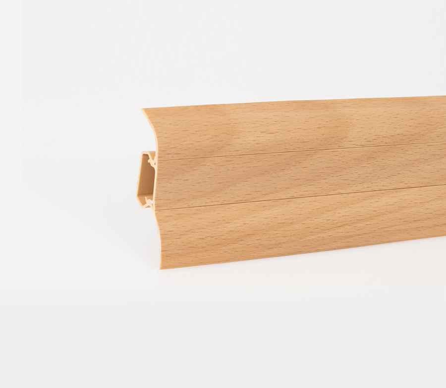 Sockelleiste 2 5m aus pvc sockelleisten mit kabelkanal for Buche gebleicht