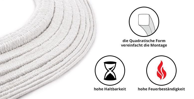Dichtschnur Ofendichtschnur SKD01 Ofendichtung Ofendichtband + Montagekleber