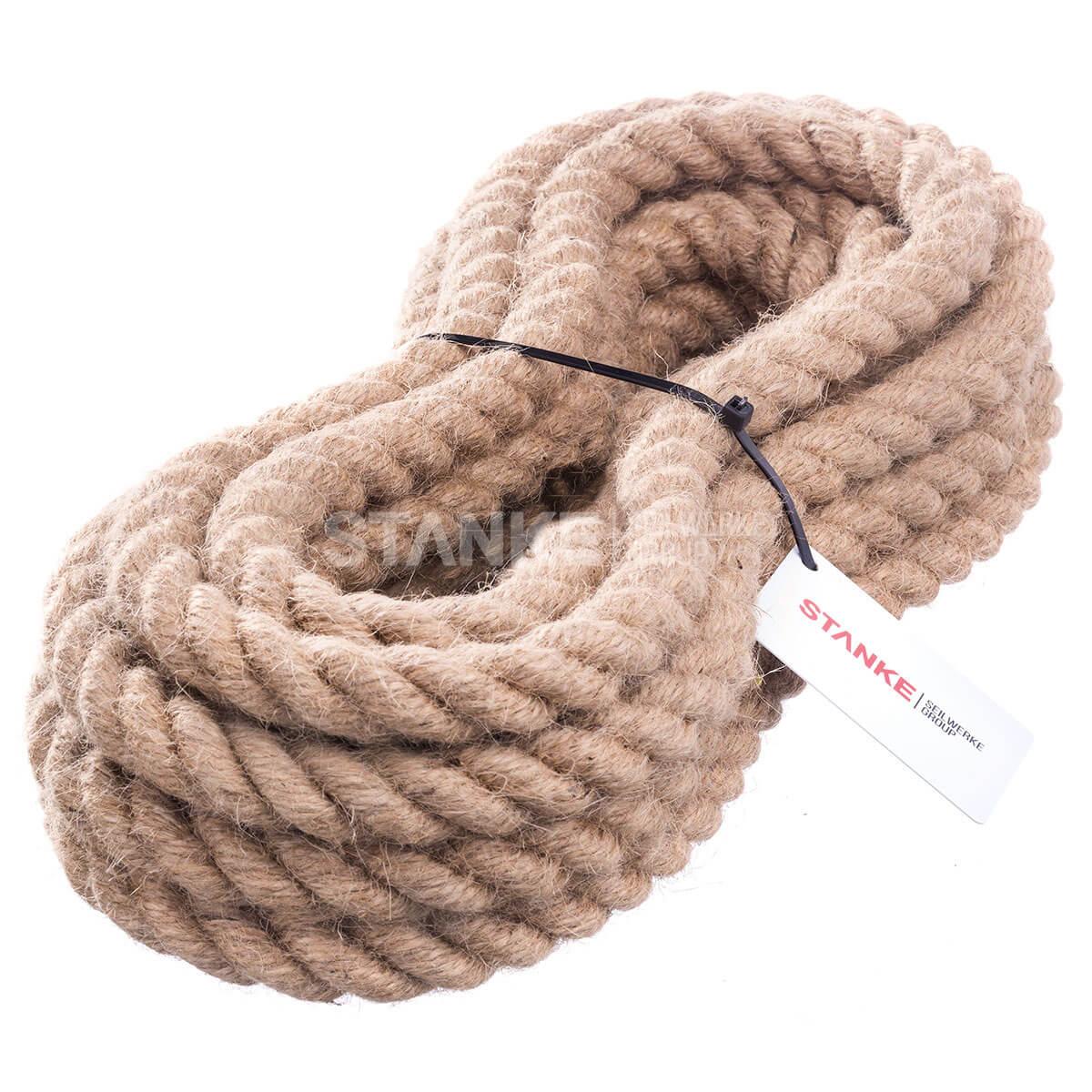 JUTESEIL 22mm Seil Hanfseil Tauwerk Hanf Naturhanf Jute Gedreht Leine Tauziehen