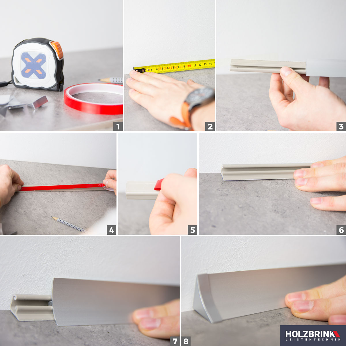 Details zu ABSCHLUSSLEISTE Winkelleisten Küche Arbeitsplatte  Wandabschlussleisten 23x23mm