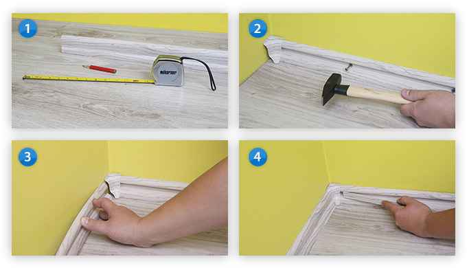 Montagehilfe Anleitung für Sockelleiste PVC Fussleiste 52x28