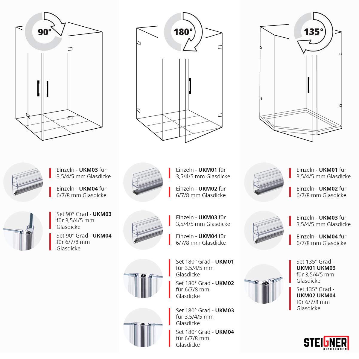 Duschdichtung 3,5-8mm duschprofil Wasserabweiser de Rechange Joint uk08//uk18