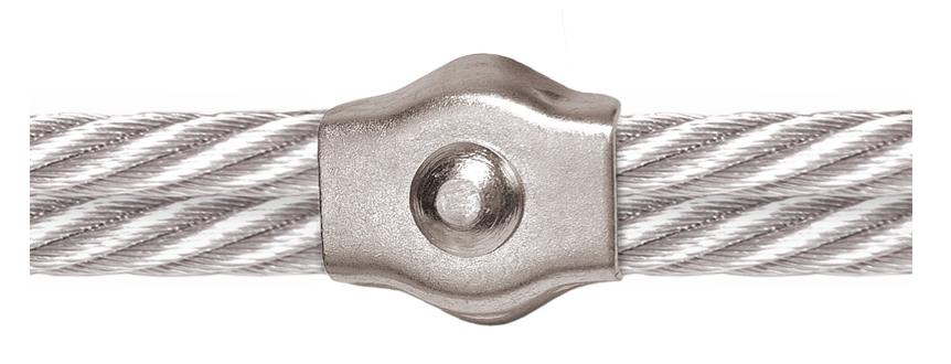 Montagebeispiel zur Verl&auml,ngerung des Drahtseils: Drahtseil + Seilklemme