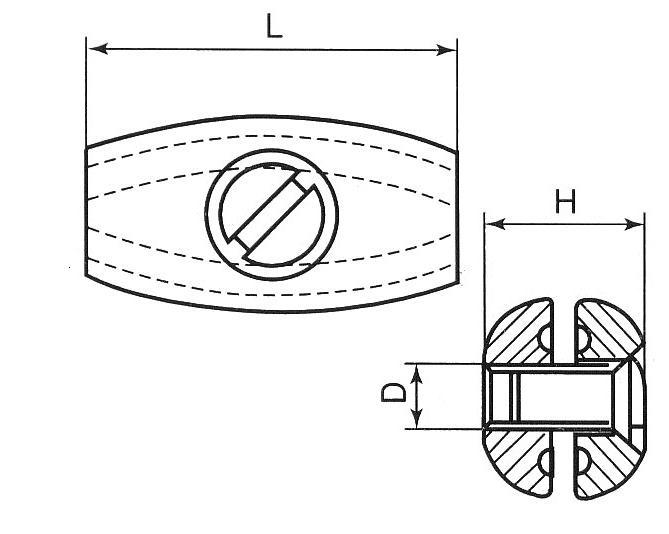 Skizze Eiformklemme Maße