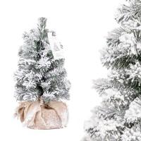 Vorschau: Künstlicher Weihnachtsbaum klein, Fichte Natur-Weiss mit Schneeflocken Mini