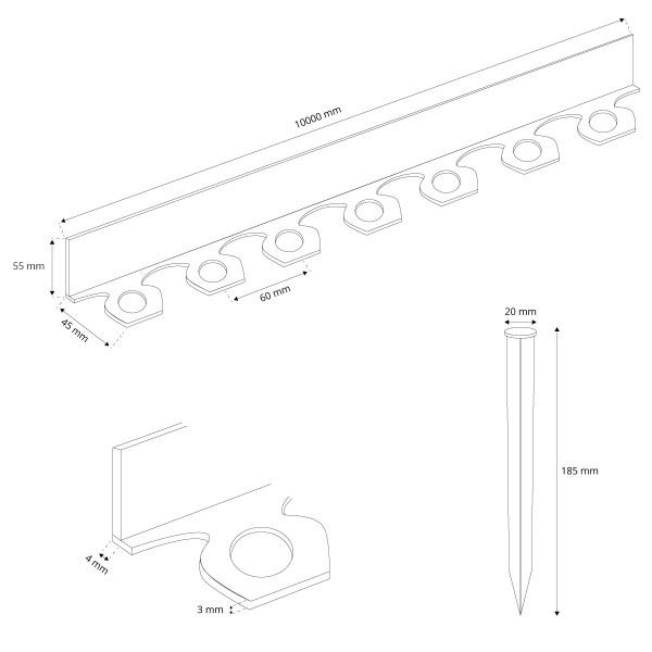 Flexibles PVC Band 10m inkl. 20 Anker Rasenkante Wurzelsperre HRK02