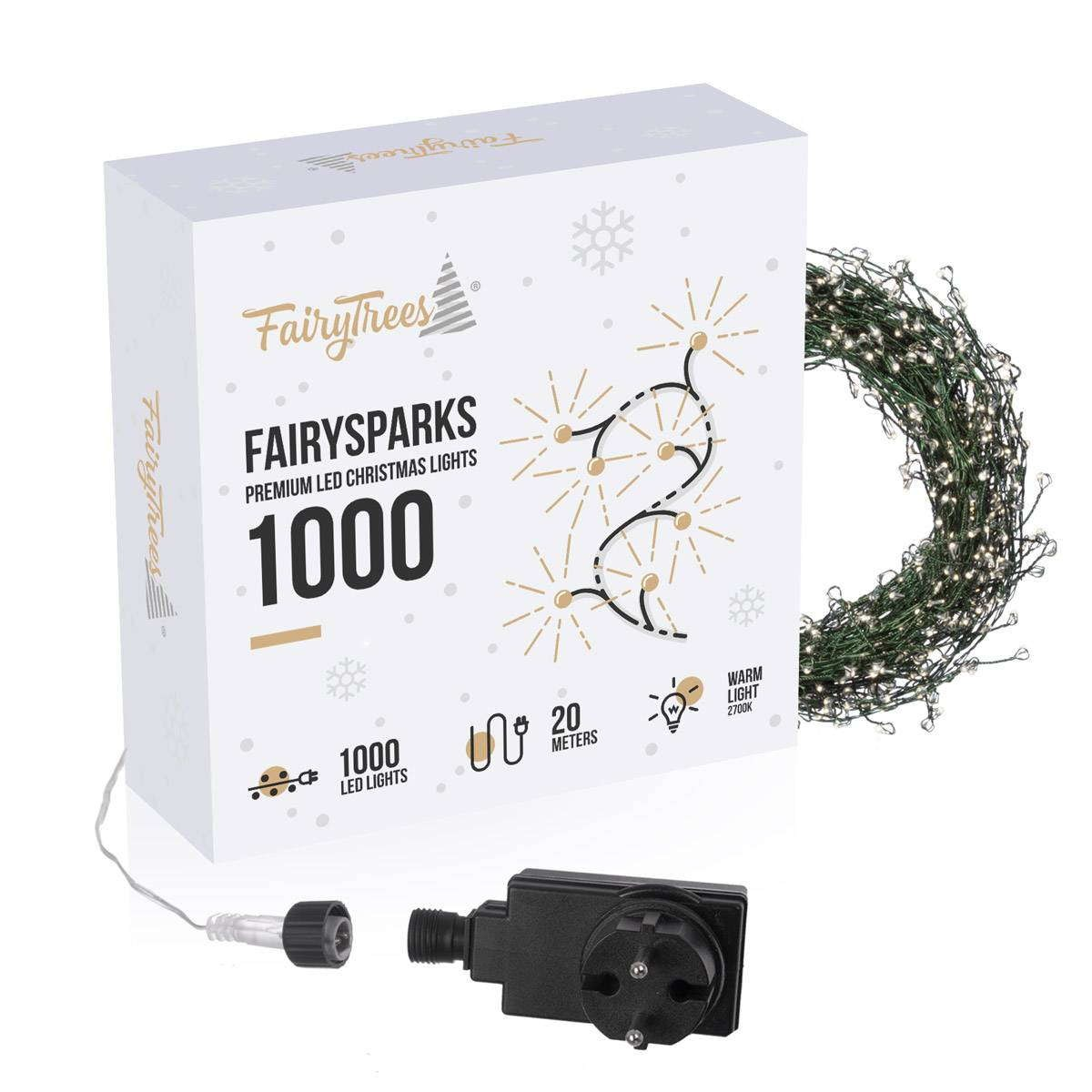 1000 LED Lichterkette warmweiß 20m mit 8 Programmen für innen außen