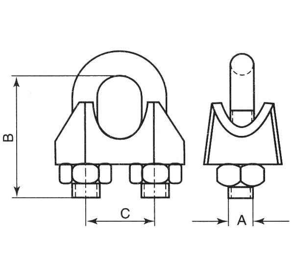 Drahtseilklemme 12mm / 13mm Seilklemme verzinkt Bügelklemme