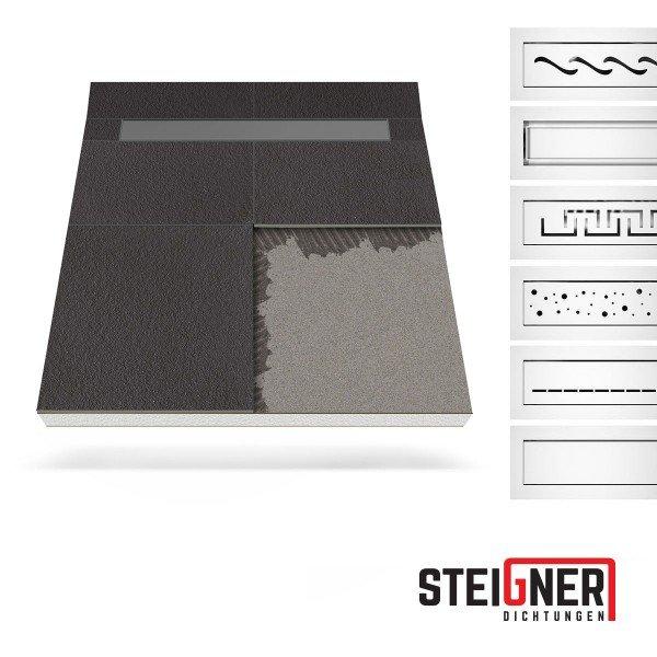 Duschelement mit Duschrinne MINERAL BASIC 2-seitiges Gefälle Duschboard befliesbar