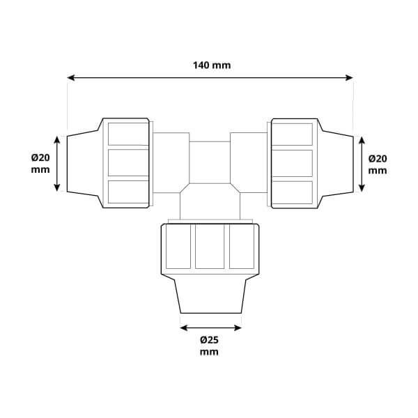 Reduzier-T-Stück 3/4 x 1 x 3/4 Zoll Rohrabzweigung des 20 mm Verlegerohrs