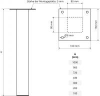 Vorschau: Tischbein Eckig, Möbelfuß aus Stahl, Quadratrohr 80x80 mm, Industriedesign, HLT-14A-J