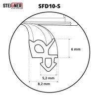 Vorschau: 1m Fensterdichtung schwarz SFD10-S Gummidichtung TPE Dichtung Fenster Tür