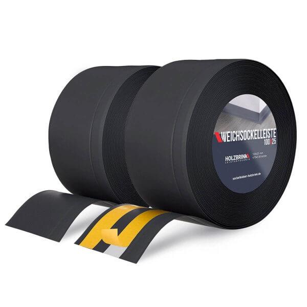 Weichsockelleiste SCHWARZ Knickleiste Profil 100x25mm