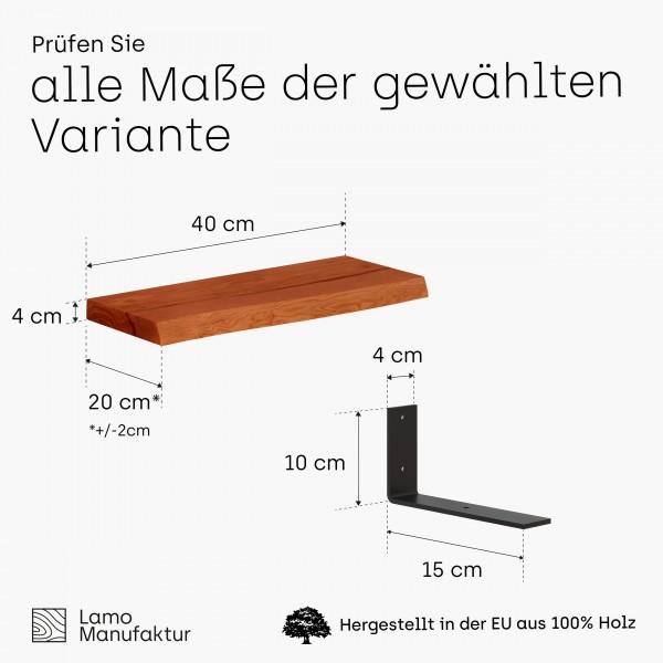 Wandregal aus Massivholz mit Baumkante