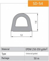 Vorschau: 1m Gummidichtung selbstklebend Hohlkammerprofil SD-54 WEISS Hohlkammerdichtung