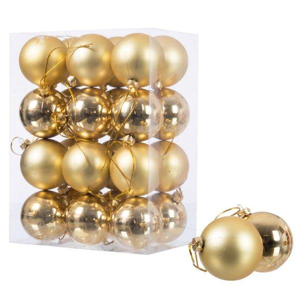 Ø 6 cm Weihnachtskugeln für Weihnachtsbaum GOLD - 24er-Pack , B-Ware