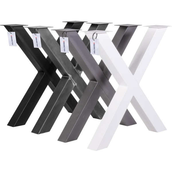 X-Tischbein aus Vierkantprofilen 80x80 mm, Tischkufen X Gestell Industriedesign, 1 Stück, HLT-03-J