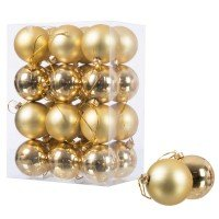 Vorschau: Ø 6 cm Weihnachtskugeln für Weihnachtsbaum GOLD - 24er-Pack , B-Ware