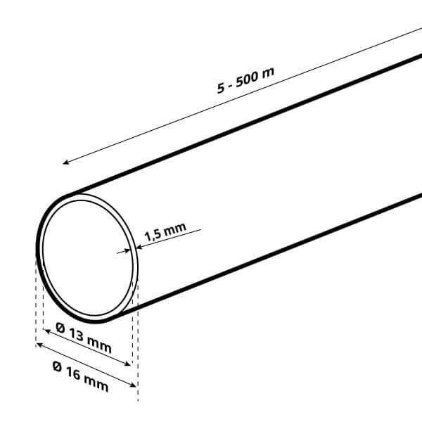 LDPE Brauchwasserleitung Verlegerohr für Sprenklersysteme aus Kunststoff 5/8 zoll 16 mm HWS01-16