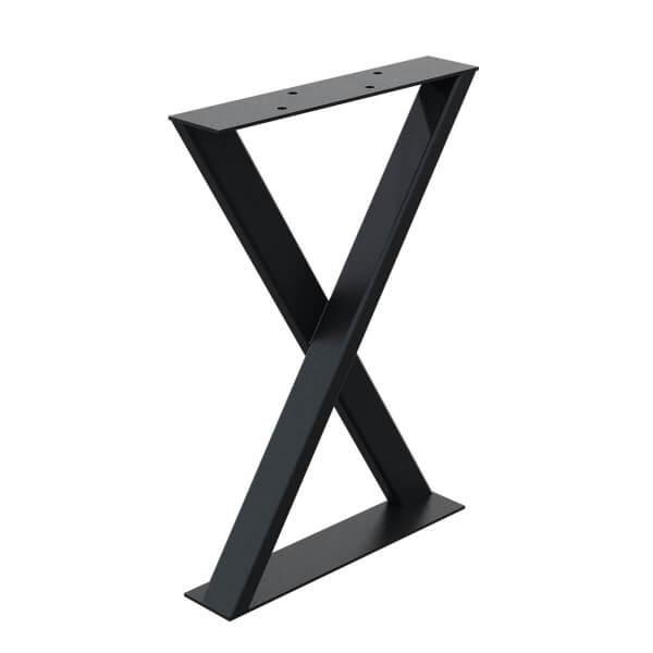 X-Tischbein aus Vierkantprofilen und Flacheisen 60x3 mm, Tischkufen X Gestell, 1 Stück, HLT-04-H