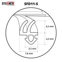 Vorschau: 1m Fensterdichtung schwarz SFD11-S Gummidichtung TPE Dichtung Fenster Tür