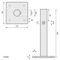 Vorschau: Sonnenschirmständer für Bodenhülse Innendurchmesser 44 mm Tiefschwarz