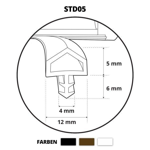 Türdichtung ZIMMERTÜRDICHTUNG Türgummi 12mm STD05 SCHWARZ Gummidichtung Dichtungen Profildichtung