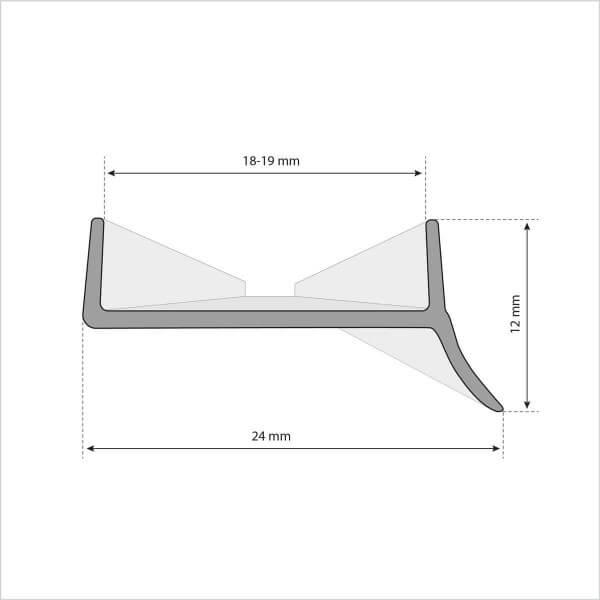 1,5m Küchensockel Abdichtungsprofil 19mm Küchensockeldichtung