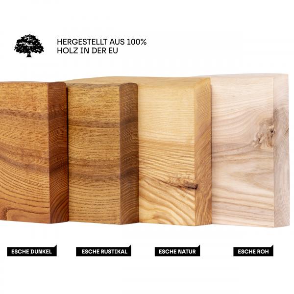 Wandregal ohne Montageset aus Holz mit Baumkante Holztreppe Fensterbank innen