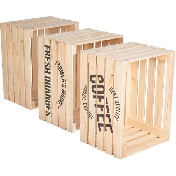 3er Set Holzkiste Apfelkiste Weinkiste aus Kiefernholz Natur 40x50x30 cm HOK-01