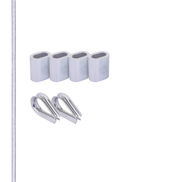 SET mit verzinktem Drahtseil mit PVC-Mantel inkl. Pressklemmen und Kauschen aus Edelstahl