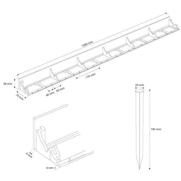 1m Rasenkante PVC Leiste mit Ankern HRK01B-58