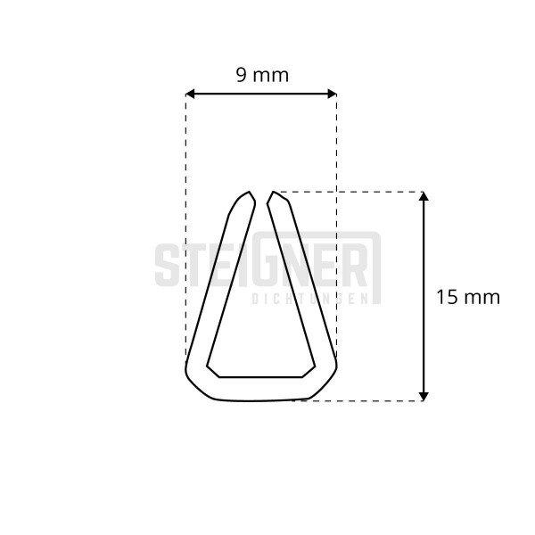 1m Gummidichtung S-1087 15x9mm Kantenschutzprofil