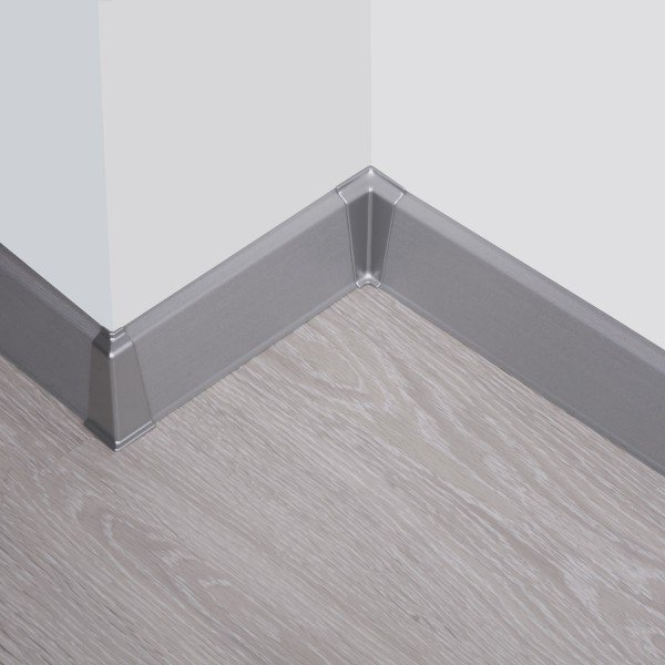 2m Sockelleisten Fussbodenleiste Kunststoff PVC 70mm x 21mm VEO - Aluminium