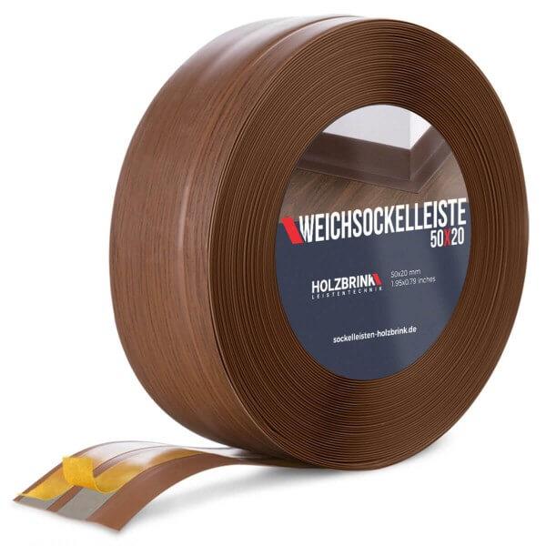 Weichsockelleiste selbstklebend EICHE DUNKEL Knickleiste Profil 50x20mm
