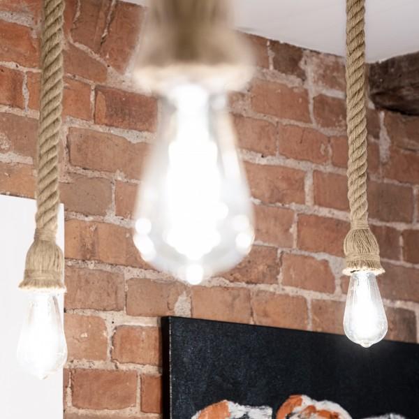 Juteseil mit Stromkabel für Pendelleuchte oder Retro Hängelampe