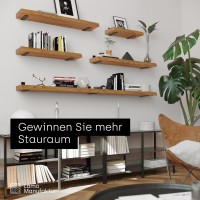 Vorschau: Wandregal aus Massivholz mit Baumkante