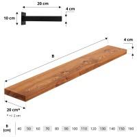 Vorschau: Wandregal aus Holz mit gerader Kante inkl. Wandhalterung HLT-14