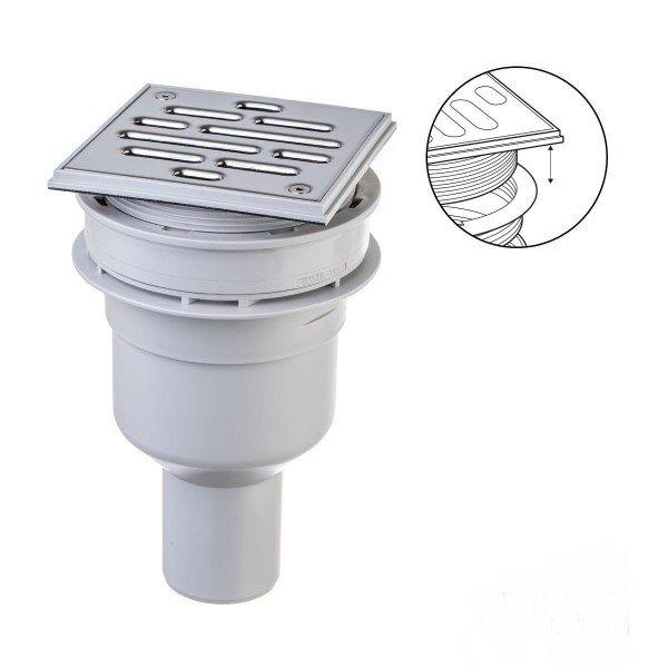 befliesbares Duschelement Punktablauf Duschboard SENKRECHT MINERAL PLUS