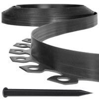 Vorschau: Flexibles PVC Band 10m inkl. 20 Anker Rasenkante Wurzelsperre HRK02