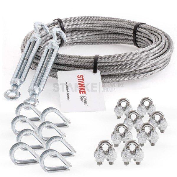Rankhilfe Seilsystem SET 5: Stahlseil verzinkt + 2x Spannschloss H-O + 8x Kausche + 8x Seilklemme